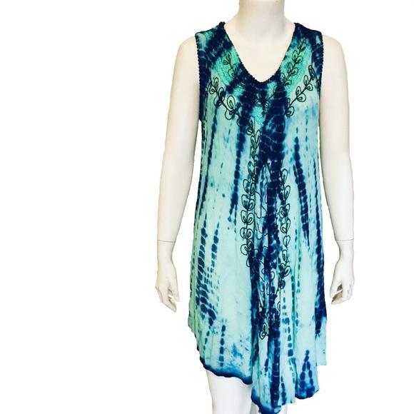 TRUE ROCK | Tie Dye Free Size Embroidered Dress